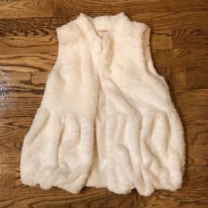 Snowy white faux fur vest